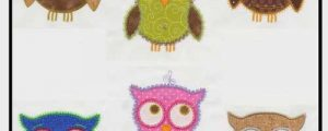 Owl Machine Embroidery Design Set