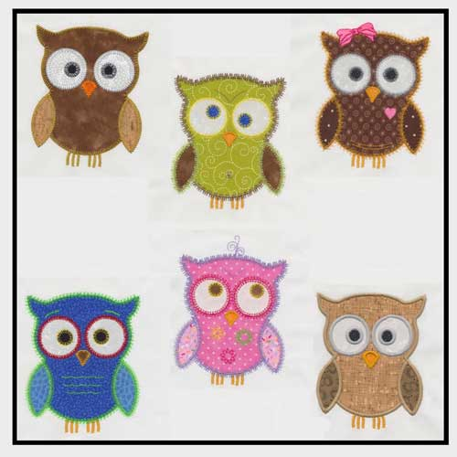 These six cute owls that are perfect for embroidering on clothing, quilting and accessories.