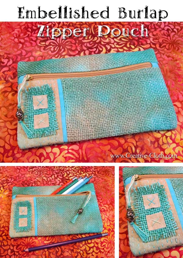 Embellished Burlap Zipper Pouch Tutorial - Free Sewing Pattern