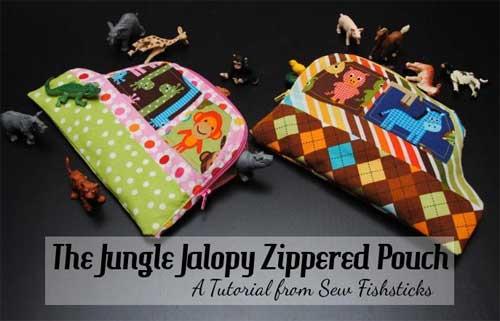 Jungle Jalopy Zippered Pouch