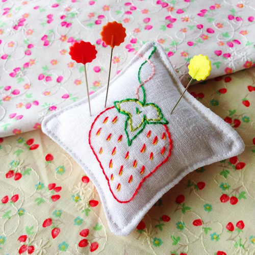 Strawberry Stitches Pincushion - Free Embroidery Project by Samelias Mum