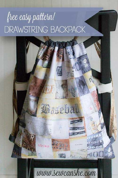 Easy Drawstring Backpack - Free Sewing Pattern
