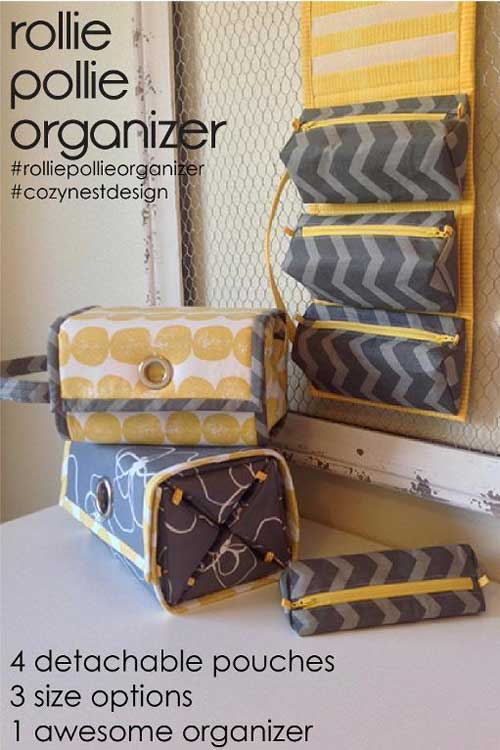 This all-purpose organizer features 4 detachable zipped pouches that all roll up into one secure little package.