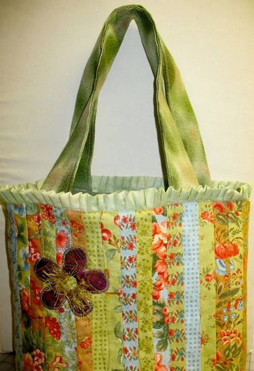 This bag is fun and easy to put together using simple fabric strips.