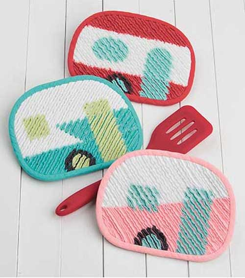 These hot pads are so cute you'll want to make a whole camper full of them.