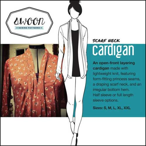 This cardigan is easy to sew using lightweight knit fabric.