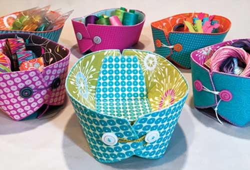 These fun fabric baskets are perfect for storing odds'n'ends in your craft room