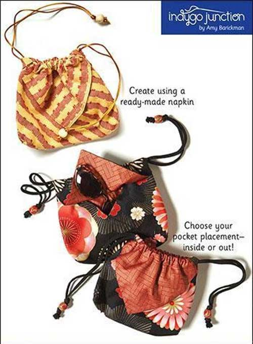 Create a unique drawstring pouch using fabric or upcycled napkins.