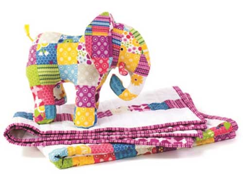 This patchwork elephant and coordinating baby quilt make an adorable set for a new baby's nursery.