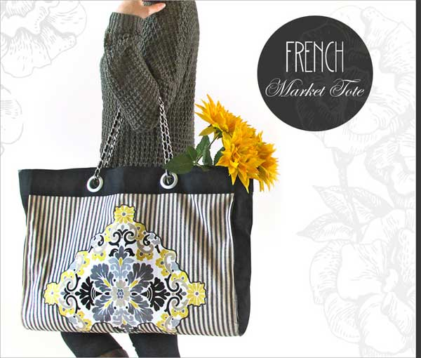 Free Bag Pattern and Tutorial - French Market Tote Bag