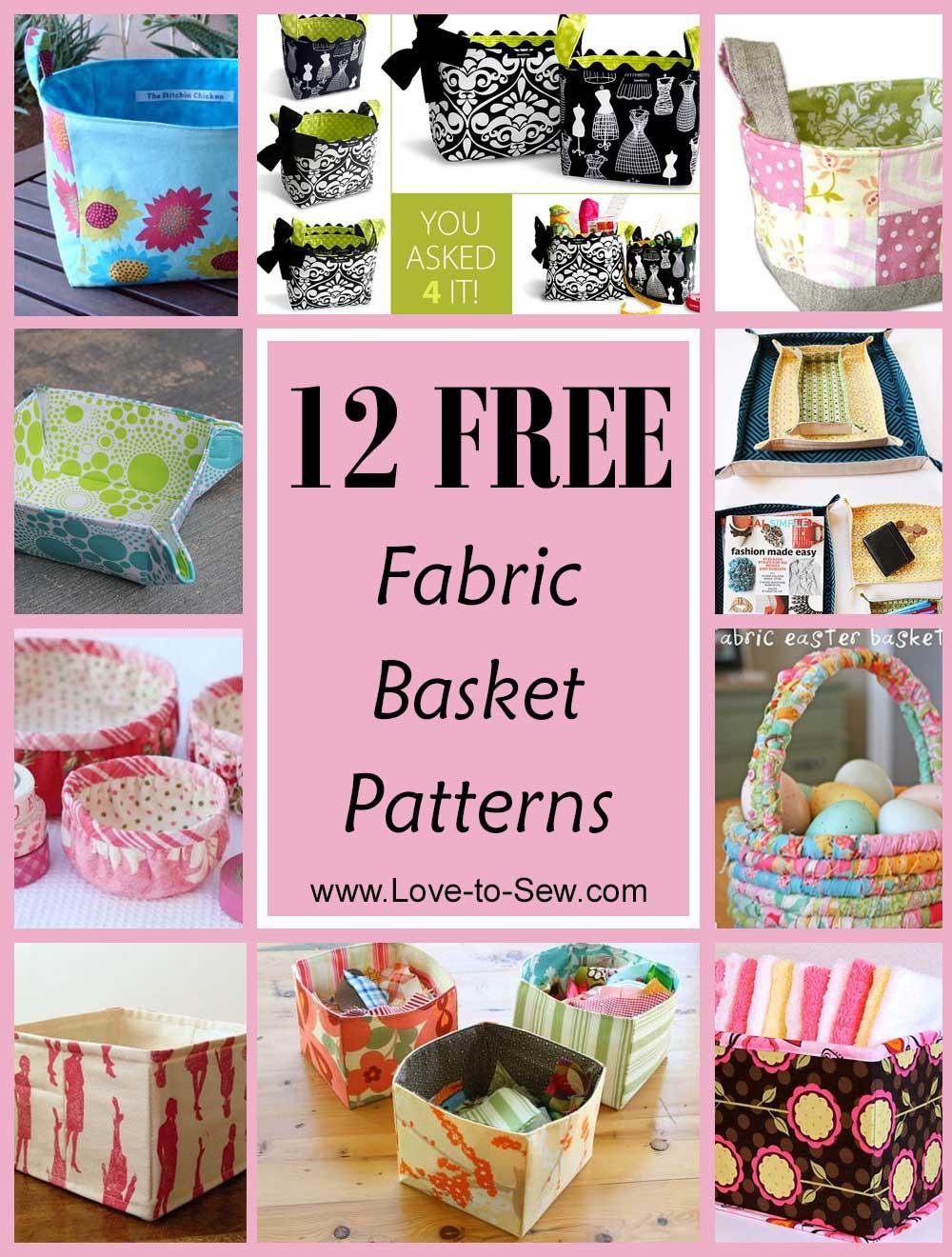 12 Free Fabric Basket Sewing Patterns