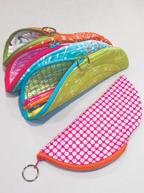 Make a bunch of these zippered pouches which are perfect for holding sewing tools, glasses, a pencil case, supplies or gifts.