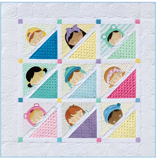 This precious Sleepy Babies quilt includes patterns for two sizes of wall hangings