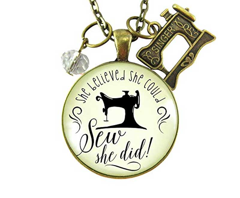 She Believed She Could SEW She Did Vintage Necklace