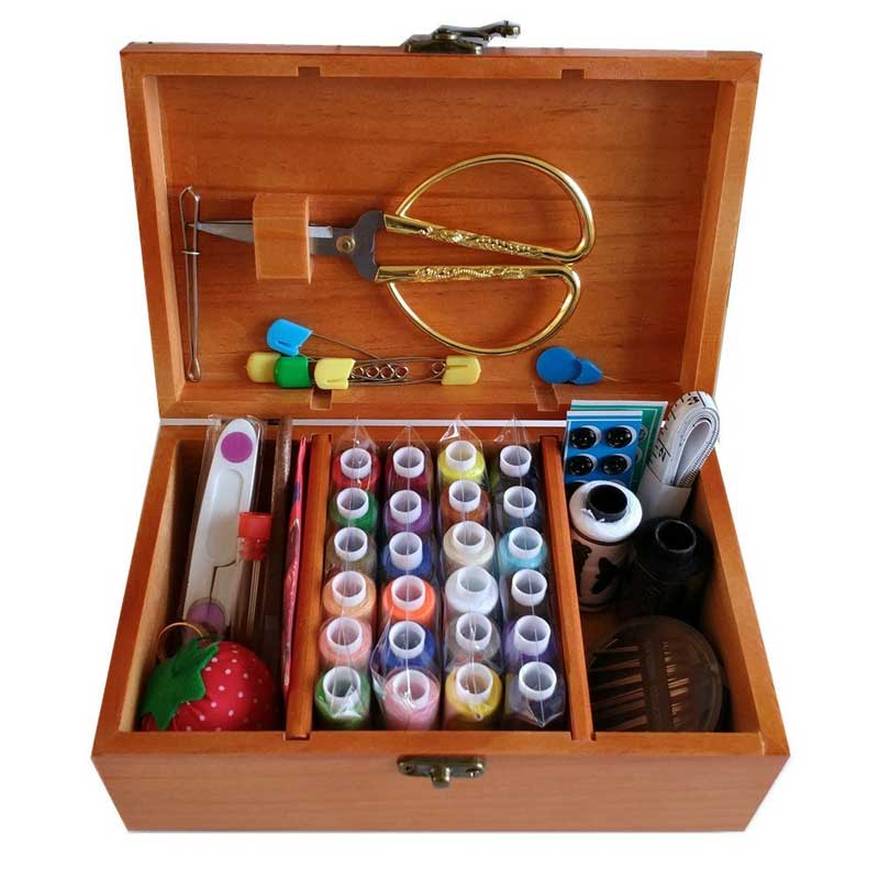 Wooden Sewing Box with Sewing Kit Accessories