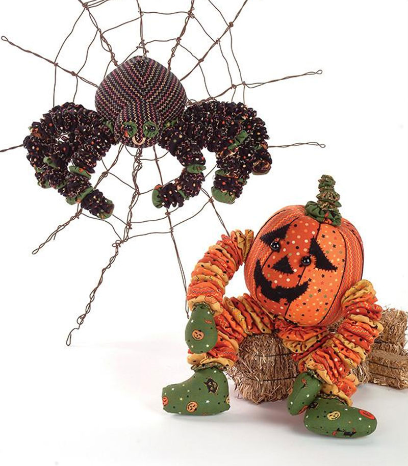 Yo-Yo Halloween Stuffed Spider & Pumpkin Sewing Pattern