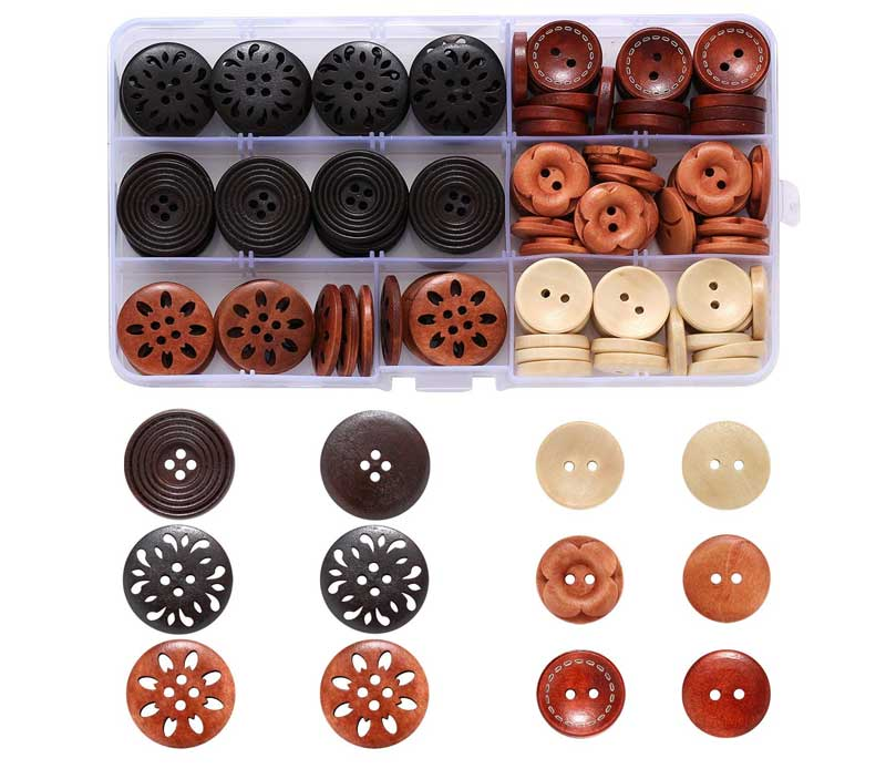 Round Wood Wooden Buttons